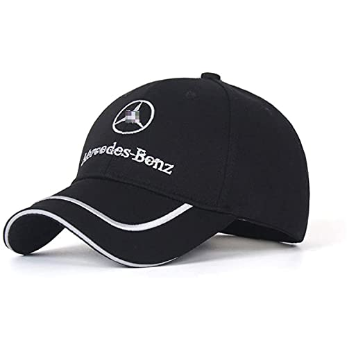 Car Logo Embroidered Black Hat Adjustable Baseball Caps for Men and Women Auto Sport Travel Cap Racing Motor Hat for Benz Black