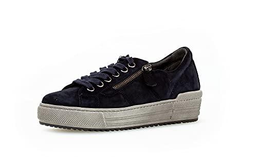 Gabor Damen Low-Top Sneaker, Frauen Halbschuhe,Wechselfußbett,Moderate Mehrweite (G),straßenschuhe,Strassenschuhe,Turnschuhe,Dark-Blue,38 EU / 5 UK