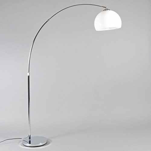 QAZQA Moderno Lámpara de arco moderna cromo pantalla blanca - ARC ...