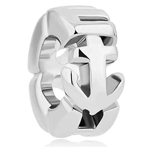 chaosong shop Abalorio de ancla chapado en plata con diseño de esperanza Spcer compatible con pulseras Pandora