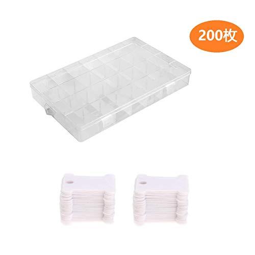 刺繍糸 糸巻き板 200枚セット 巻き取り プラスチック 収納ボックス付き きれいに整理 収納便利 収納ツール