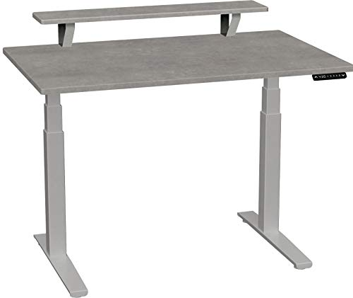 SmartMoves by Howard Miller Dual Motor Electric Adjustable Height Desk with Classic Desktop with Elevated Shelf (48 in Width, Concrete Desktop/Frosted Silver Base)
