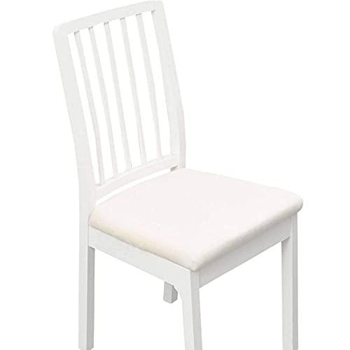 Samt Stuhl Sitzbezüge, 2/4/6 Stretch Stuhl Sitzkissen Schonbezüge Universal Weiche Abnehmbare Waschbare Stuhl Sitz Schonbezüge für Esszimmer Küchenstuhl-6 Stück-weiß