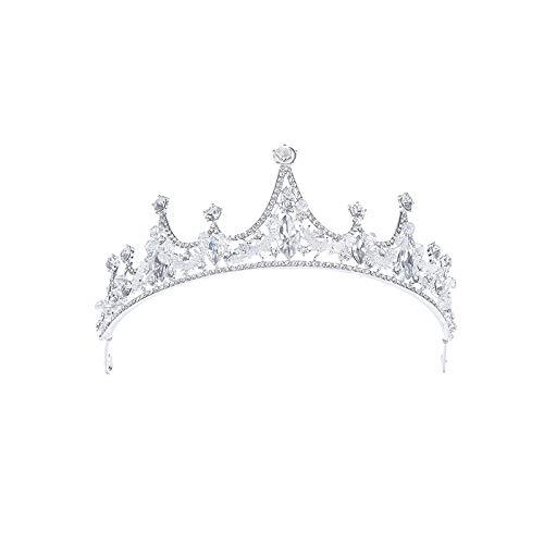MLDSJQJ Gioielli con Corona di diadema da Sposa in Cristallo di Strass Fatto a Mano con Fiocco di Neve,Silver