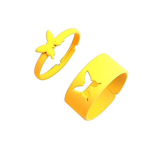 Anillo abierto de mariposa de color caramelo de 2 piezas para mujeres anillos de dedo para niñas amantes de parejas-amarillo