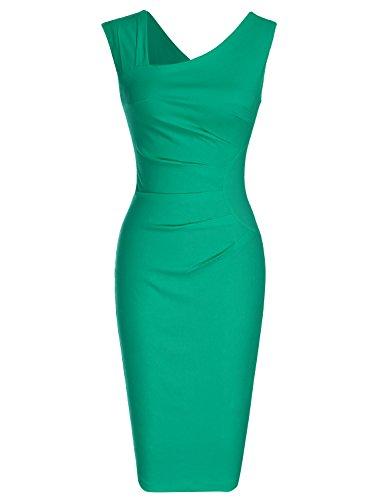 MUXXN Women's Vintage 1950s V Neck Strap Knee Length Dress (Grass Green...