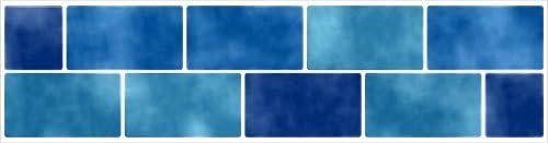 Fliesenaufkleber Fliesenbordüre Bordüre Mosaik Hellblau Kachel Aufkleber FB2