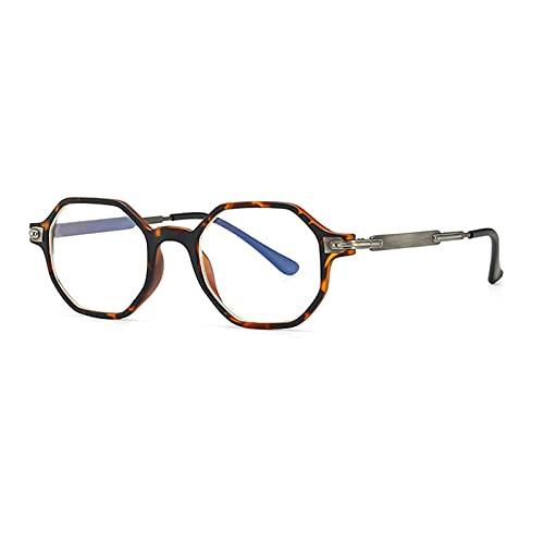 RuaRua Gafas Luz Azul,Marco De Anteojos Óptico Retro De Luz Anti-Azul, Marcos De Amantes Ovalados Hexagonales, Leopardo C1, Talla Única