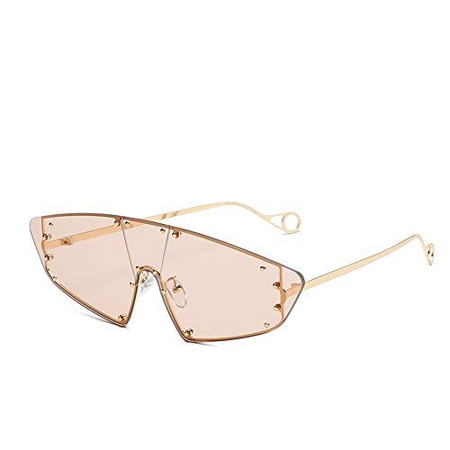 NXMRN Sonnenbrille Vintage Cat Eye Randlose Sonnenbrille Frauen Sonnenbrille Männer Shades Punk Niet Einem Stück Rihanna Brillen-Champagne