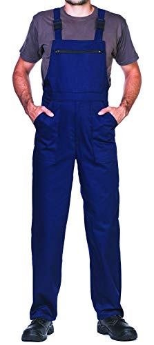 Pantalones con peto de trabajo para hombre, Made in EU, Mono de trabajo, Azur, blanco, rojo, verde, negro (XL,...