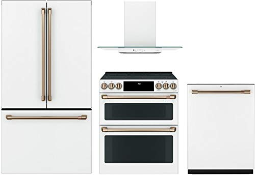 """Price comparison product image GE Cafe 4 Piece KitchenPackage CWE23SP4MW2 36""""Smart French Door Refrigerator, CES750P4MW2 30""""Smart Electric Range, CVW73014MWM 30""""Wall Mount Ducted Hood CDT836P4MW2 24""""Built In Dishwasher in Matte White"""