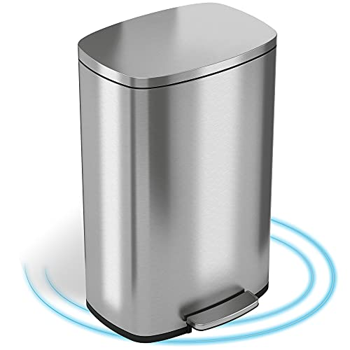 iTouchless SoftStep 13.2 Gallon Stainless Steel Step Trash Can with Silent and Gentle Lid Close, 50 Liter Pedal Garbage Bin for Kitchen, Home, Office
