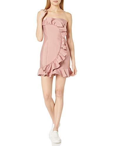Keepsake The Label Women's Daybreak Strapless Ruffle Mini Dress, Dusty Pink, L