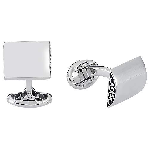 Vinani Design Manschettenknöpfe viereckig schlicht glänzend 925 Sterling Silber Herren Anzug Hemd 2MAP
