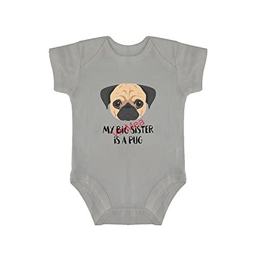 Body de manga corta para bebé con diseño de mi hermano grande es un pug para bebés y niñas (0 a 18 meses)