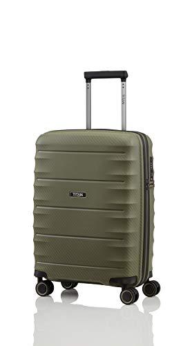 TITAN 4-Rad Handgepäck Koffer mit TSA Schloss, erfüllt IATA-Bordgepäckmaß, Gepäck Serie HIGHLIGHT: Leichte Hartschalen Trolleys im Carbon Look, 842406-86, 55 cm, 38 Liter, khaki (grün)