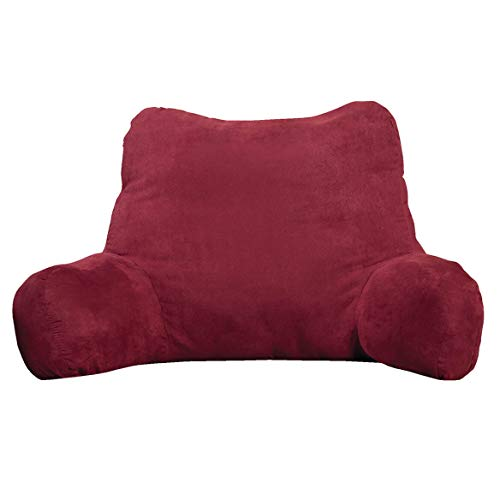 Backrest Pillow – Large Firmly Stuffed Sitting Support Bed Pillow with Arms for Comfort while Reading & Relaxing –Foam filled for Adults, Teens and Kids - Burgundy Red