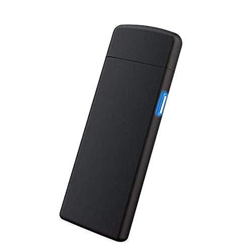 Geolá Accendino elettrico USB con Touch-Sensor, Accendino di tempesta nero lucido, elettronico, sottile, antivento, ricaricabile, senza gas e benzina, per cucina, grill, candele