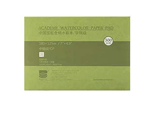 """Watercolor Paper Block, BAOHONG Academy Grade Watercolor Block, 100% Cotton, Acid-Free, 140LB/300GSM, Cold Press Textured, 20 Sheets per Block (Cold Press 4.9'x7"""""""")"""