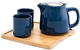 Fuji Merchandise Colorful Ceramic 20 fl oz Teapot with Two Matching Cups and Bamboo Tray Tea Set (Blue)