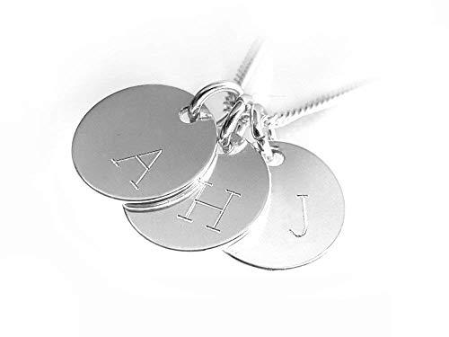Moderne Initialen - Kette, 925 Silber, Drei Runde Anhänger mit Gravur, Buchstabenkette