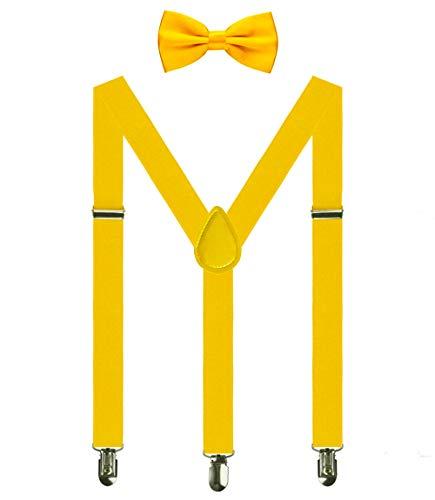 Aissy Herren Damen Hosenträger 2.5cm Y Form 3-Clips elastisch und längenverstellbar Hosenträger breit mit Fliege für Herren und Damen Gelb