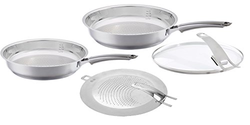 Fissler crispy steelux premium Frypan Set Uncoated Stainless Steel, with Splatter Screen & Glass-Lid, Induction, 10, 12-Inch