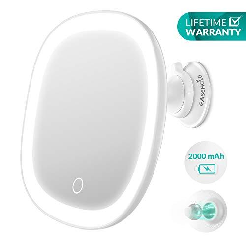 EASEHOLD Rasierspiegel Kosmetikspiegel LED Beleuchtet mit Saugnapf, 7X Vergrößerung, 360° Schwenkbar, Wiederaufladbarer Akku, IPX5 wasserdicht, Make Up Schminkspiegel mit Touch-Taste für Badzimmer