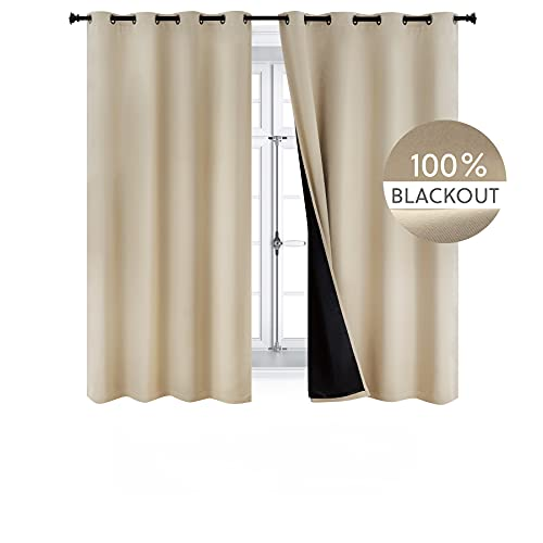 Bedsure 100% Blackout Curtains 63 inches - Full Room Darkening Curtains for Bedroom 2 Panels - Soundproof and Thermal Insulated Drapes ( Khaki/Beige/Tan/Taupe, 52×63 )