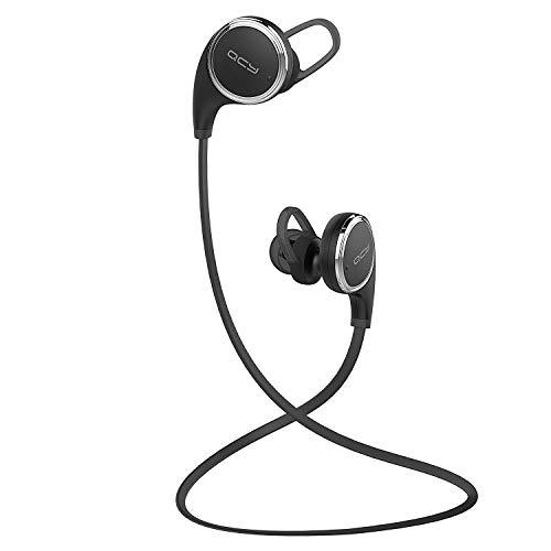 QY8 Bluetooth 4.1 Sport Kopfhörer Wireless In Ear Stereo Ohrhörer mit Mikrofon / APT-X für iOS und Android Handys iPad Laptops PC Tablets - 7-Stunden Spielzeit und Sweatproof (schwarz)