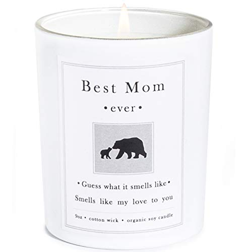 Mother's Day Best Mom Ever Candle Gift-Mama Bear Candle Infused My Love to You-Fresh Bamboo Scented Natural Soy Candle, Thoughtful Gifts for Mother Home