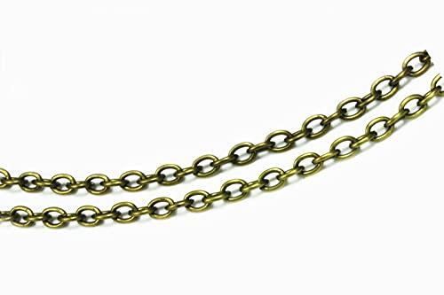 Cadena de metal Inwaria 2,5 x 3,5 mm, cadena de eslabones, MK-88/2_5 m (color bronce)