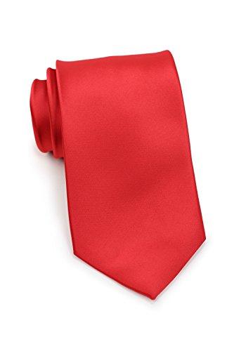 PUCCINI Uni Krawatte, Tie, Binder, Herren-/Hochzeitskrawatten, Schlips, Plastron │ 8.5cm schmal-slim │ einfarbig-unifarbig: Hellrot