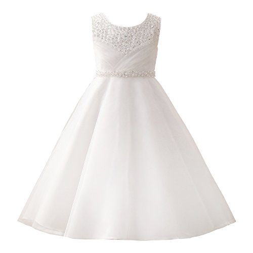 Castle Fairy Girls' First Communion Organza Sequin Pearls Flower Girl Dress with Train, White, Size 08