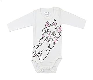 Skills Cat-Print Round-Neck Long Sleeves Bodysuit for Kids - White, 6-9 Months