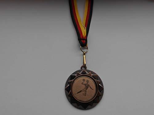 Fanshop Lünen 20 Stück Medaillen - Handball - aus Metall 40mm / Bronce - inkl. Medaillen-Band - mit Alu Emblem 25mm (Bronce) - Handballsport - (e104) -