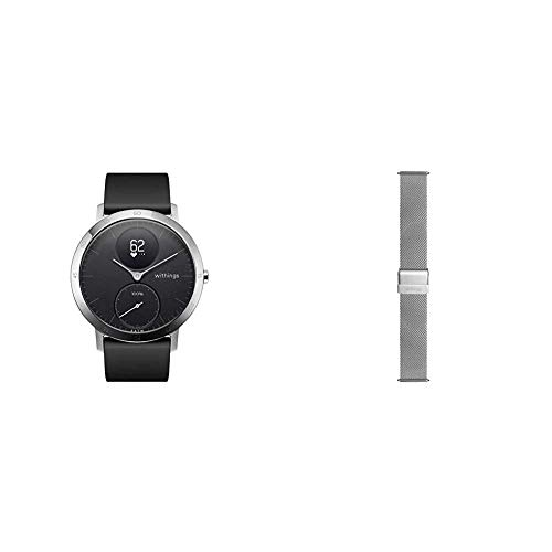 Withings Steel HR Hybrid Smartwatch - Fitnessuhr mit Herzfrequenz und Aktivitätsmessung, 40mm - Schwarz002, Schwarz Silikonarmband & Mailänder Armband, Silber