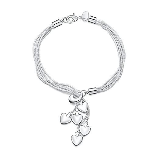 Youdert Pulsera Mujer, 925 Pulsera de Plata esterlina Gancho Cinco Accesorios de joyería de corazón Pulseras de Encanto de Plata para Mujer