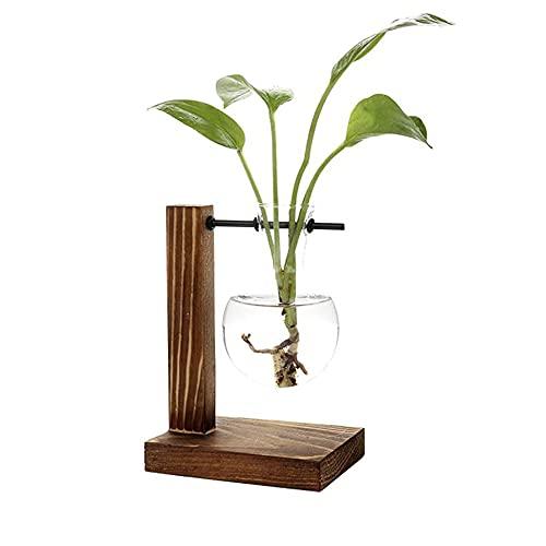 Vaso Decorativo In Legno, Vaso da Tavolo Trasparente, Vaso In Legno Trasparente, Vaso a Bulbo, Vetro...