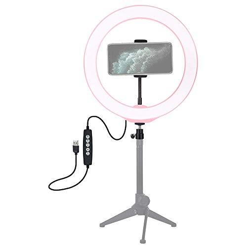 Ring licht USB-video-licht 10,2 inch licht invullen self-timer licht RGBW dimbare LED ring opnemen photography licht, 10 modes 8 kleuren, for Youtube Video (roze) LMMS