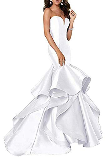 VeraQueen Women's Strapless Tiered Prom Dresses Sweetheart Mermaid Evening Party Dress White