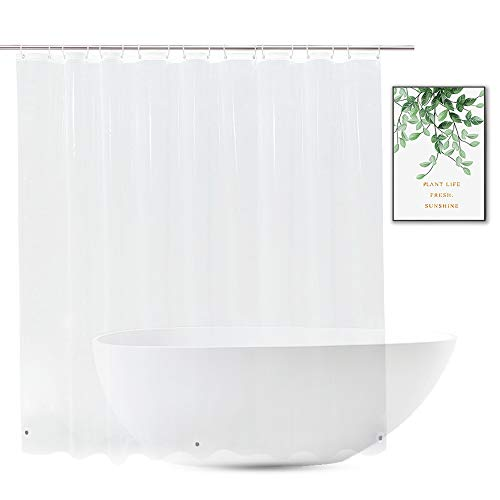 Extra Wide Shower Curtain Liner 108 x 72, Waterproof Heavy Duty Clear Vinyl Shower Liner for Bathroom and Bathtub, 18 Plastic Hooks