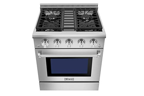 Empava 30 in. 4.2 cu. ft. Pro-Style Slide-In Single Oven Gas Range with 4 Sealed Ultra High-Low Burners-Heavy Duty Continuous Grates in Stainless Steel, 30 Inch, Black 3 The slide-in gas range offers the heavy-duty cast iron grates and 4 versatile burners, two single 18000-BTU burners, one single 12000-BTU burner, a dual ring 15000-BTU burner (650-BTU for simmer) distribute even heat for simmer, boil, stir-frying, steaming, melting or even caramelizing! The deep recessed gas range with an automatic reignition ensures a continuous flame and reignites automatically if accidentally extinguished. The zinc alloy control knobs with a blue LED lights that allows you to see if the cooktop is turn on from a distance. The stainless-steel gas range with a brilliant blue interior, the temperature can be set up from 150°F to 500°F help you to cook perfectly and accurately. It's good for broil, bake, defrosting, dehydration, preheating.