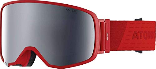 Atomic Unisex All Mountain-Skibrille Revent L FDL HD, für alle Lichtverhältnisse, Large Fit, Live Fit-Rahmen, FDL-Konstruktion, Stereo HD-Scheibe, rot/silber Stereo HD, AN5105450