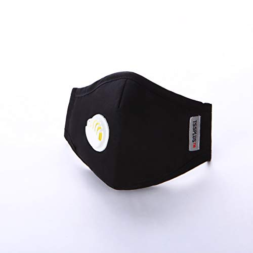 Black mask ,TSSPLUS PM2.5 Reusable Face Masks Dustproof Mouth-muffle Running Cycling Breathable Valve Anti Haze Respirator Healthy Protective Cover [US Stock ]
