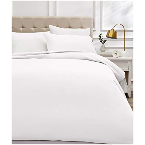 Amazon Basics - Bettwäsche-Set, Fadendichte 400, Baumwollsatin, 200 x 200 cm und zwei Kissenbezügen, 50 x 80 cm, Weiß