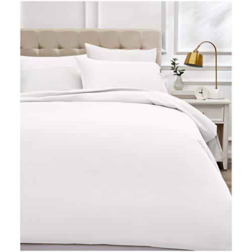 AmazonBasics - Bettwäsche-Set, Fadendichte 400, Baumwollsatin, 200 x 200 cm und zwei Kissenbezügen, 50 x 80 cm, Weiß