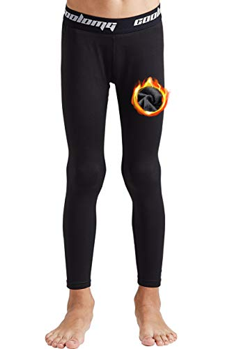 COOLOMG Boys Girls Thermal Compression Pants Base Layer Tights Sports Fitness Running Black S