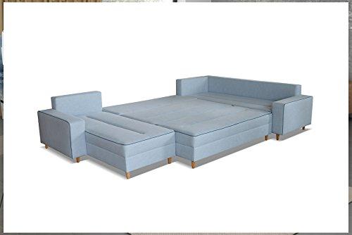 mb-moebel Ecksofa Eckcouch mit Bettkästen mit Schlaffunktion Couch Wohnlandschaft U-Form Polsterecke Blau LACO I mit HOCKER (Ecksofa Rechts) - 4