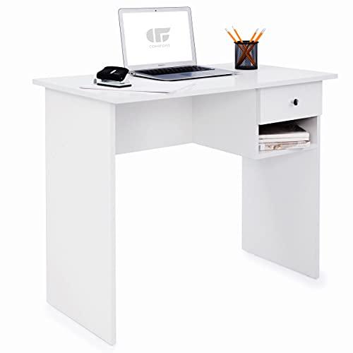 COMIFORT Mesa de Estudio – Escritorio Robusto, Práctico de Estilo Moderno y Minimalista, Gran Capacidad de Almacenaje, 1 Cajón y 1 Estante, Color Nordic